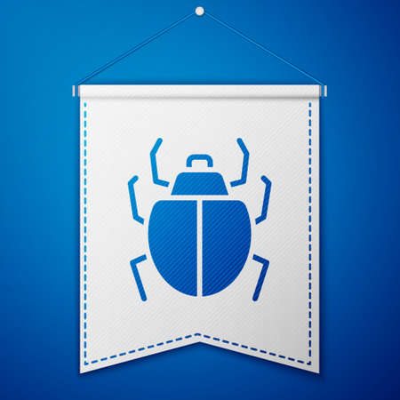 Blue Mite icon isolated on blue background. White pennant template. Vector Иллюстрация