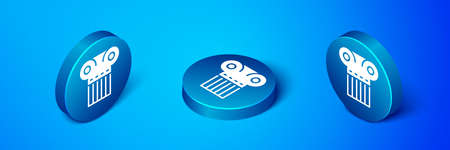 Isometric Ancient column icon isolated on blue background. Blue circle button. Vector