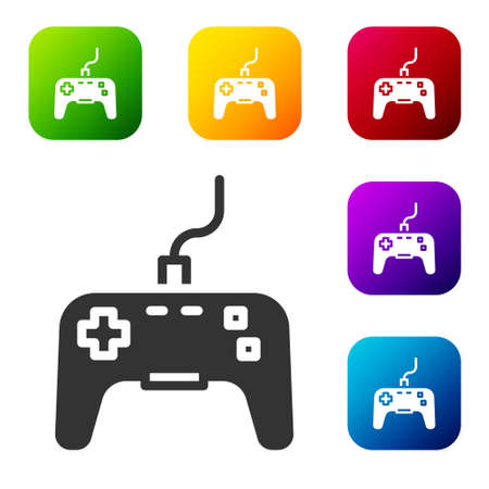 Black Gamepad icon isolated on white background. Game controller. Set icons in color square buttons. Vector