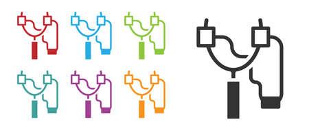 Black Slingshot icon isolated on white background. Set icons colorful. Vector