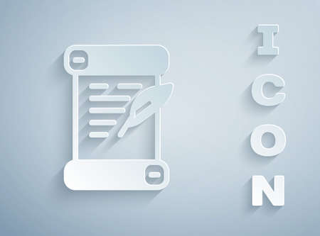 Paper cut Decree, paper, parchment, scroll icon icon isolated on grey background. Paper art style. Vector Çizim