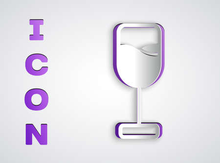 Paper cut Wine glass icon isolated on grey background. Wineglass icon. Goblet symbol. Glassware sign. Happy Easter. Paper art style. Vector Векторная Иллюстрация