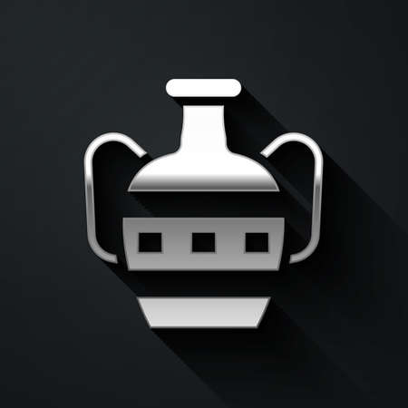 Silver Ancient amphorae icon isolated on black background. Long shadow style. Vector