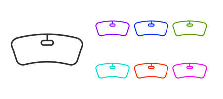 Black line Windshield icon isolated on white background. Set icons colorful. Vector Illustration