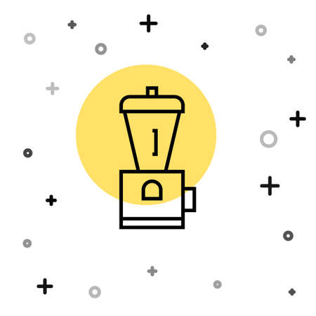 Black line Electric coffee grinder icon isolated on white background. Random dynamic shapes. Vector Illustration
