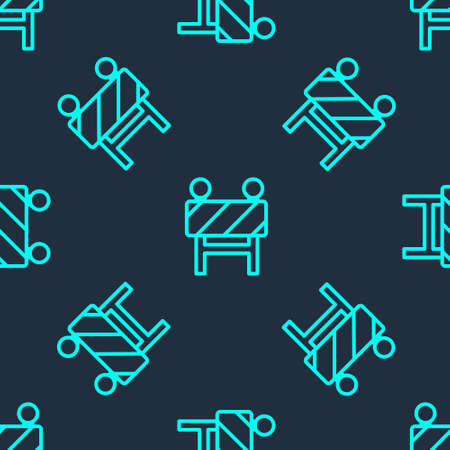 Green line Road barrier icon isolated seamless pattern on blue background. Symbol of restricted area which are in under construction processes. Repair works. Vector Illustration
