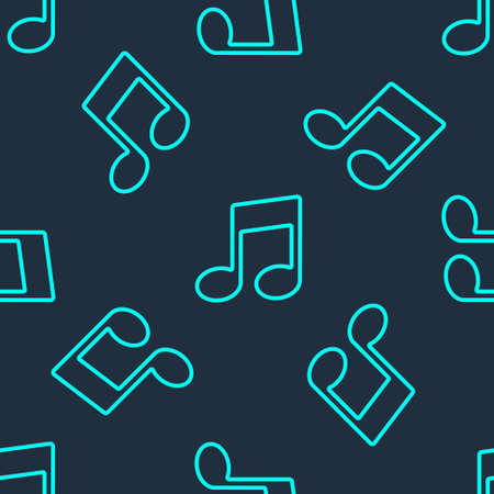 Green line Music note, tone icon isolated seamless pattern on blue background. Vector Illustration
