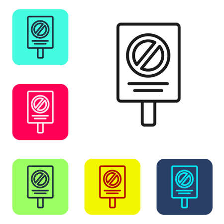 Black line Protest icon isolated on white background. Meeting, protester, picket, speech, banner, protest placard, petition, leader, leaflet. Set icons in color square buttons. Vector Çizim