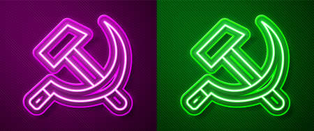 Glowing neon line Hammer and sickle USSR icon isolated on purple and green background. Symbol Soviet Union. Vector