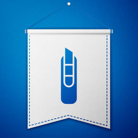 Blue Stationery knife icon isolated on blue background. Office paper cutter. White pennant template. Vector Illustration