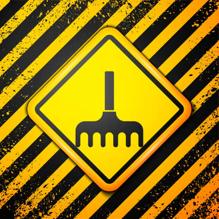 Black Garden rake icon isolated on yellow background. Tool for horticulture, agriculture, farming. Ground cultivator. Warning sign. Vector Illustration Ilustração