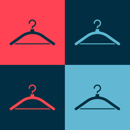 Pop art Hanger wardrobe icon isolated on color background. Cloakroom icon. Clothes service symbol. Laundry hanger sign. Vector Illustration