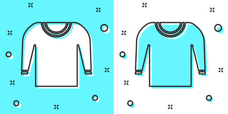 Black line Sweater icon isolated on green and white background. Pullover icon. Random dynamic shapes. Vector Illustration