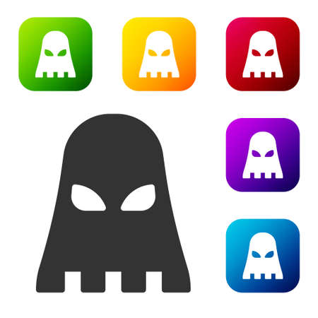 Black Executioner mask icon isolated on white background. Hangman, torturer, executor, tormentor, butcher, headsman icon. Set icons in color square buttons. Vector