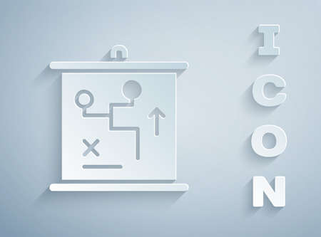 Paper cut Planning strategy concept icon isolated on grey background. Cup formation and tactic. Paper art style. Vector