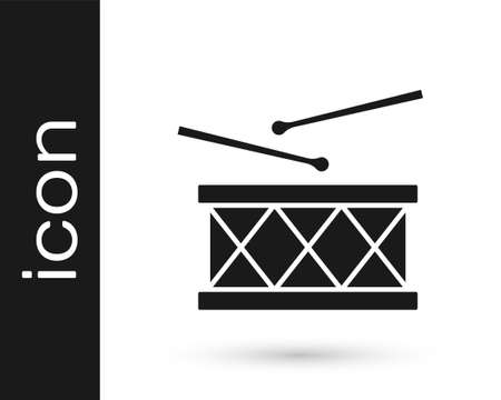 Black Musical instrument drum and drum sticks icon isolated on white background. Vector