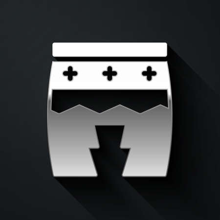Silver Musical instrument huehuetl icon isolated on black background. Long shadow style. Vector