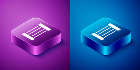Isometric Ancient column icon isolated on blue and purple background. Square button. Vector Vettoriali