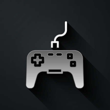 Silver Gamepad icon isolated on black background. Game controller. Long shadow style. Vector