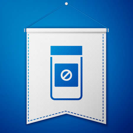 Blue Sports doping, anabolic drugs icon isolated on blue background. Anabolic steroids tablet. Pills in jar. White pennant template. Vector