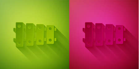 Paper cut Xylophone - musical instrument with thirteen wooden bars and two percussion mallets icon isolated on green and pink background. Paper art style. Vector