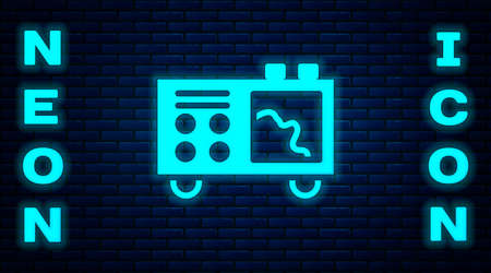 Glowing neon Spectrometer icon isolated on brick wall background. Vector Çizim