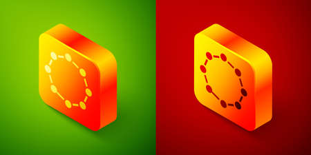 Isometric Chemical formula icon isolated on green and red background. Abstract hexagon for innovation medicine, health, research and science. Square button. Vector