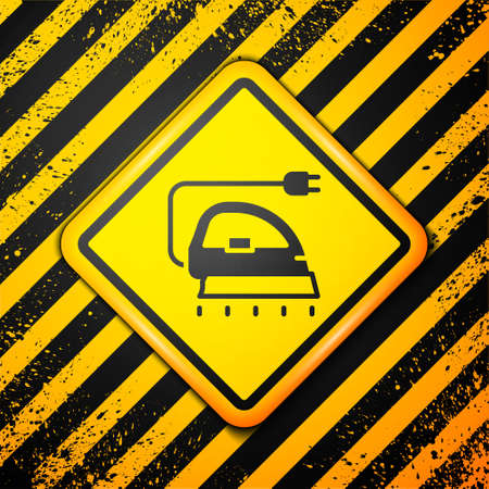 Black Electric iron icon isolated on yellow background. Steam iron. Warning sign. Vector