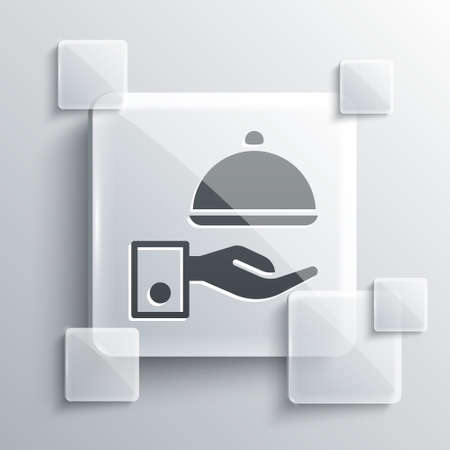 Grey Covered with a tray of food icon isolated on grey background. Tray and lid sign. Restaurant cloche with lid. Square glass panels. Vector