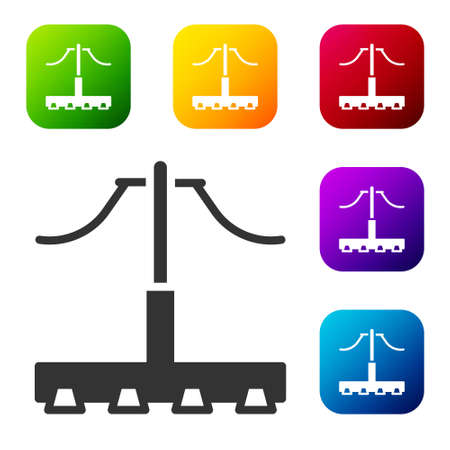 Black Railway icon isolated on white background. Railroad overhead lines. Contact wire. Set icons in color square buttons. Vector