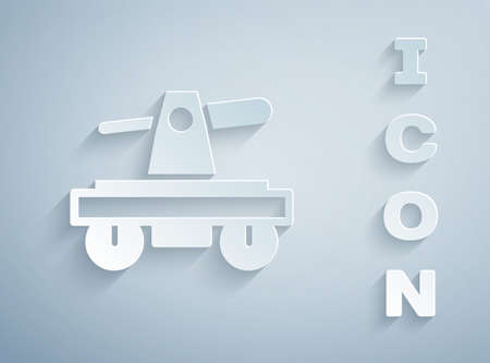 Paper cut Draisine handcar railway bicycle transport icon isolated on grey background. Paper art style. Vector