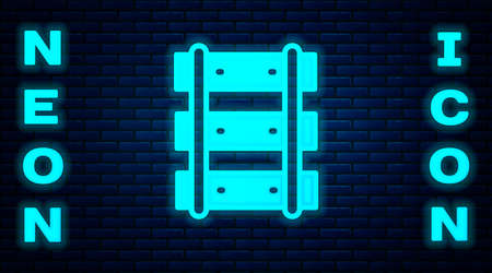 Glowing neon Railway, railroad track icon isolated on brick wall background. Vector