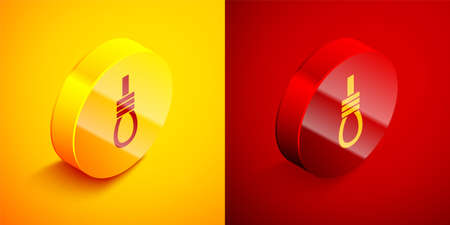 Isometric Gallows rope loop hanging icon isolated on orange and red background. Rope tied into noose. Suicide, hanging or lynching. Circle button. Vector