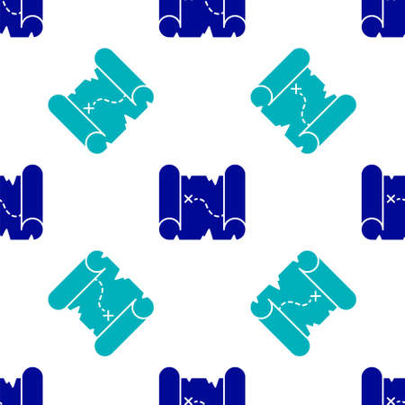 Blue Pirate treasure map icon isolated seamless pattern on white background. Vector