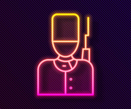 Glowing neon line British guardsman with bearskin hat marching icon isolated on black background. Vector Illustration