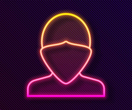 Glowing neon line Vandal icon isolated on black background. Vector Stock Illustratie