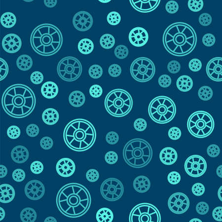 Green line Casino chip icon isolated seamless pattern on blue background. Casino gambling. Vector