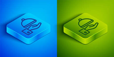 Isometric line Covered with a tray of food icon isolated on blue and green background. Tray and lid sign. Restaurant cloche with lid. Square button. Vector 矢量图像