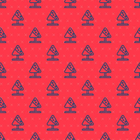 Blue line Road sign avalanches icon isolated seamless pattern on red background. Snowslide or snowslip rapid flow of snow down a sloping surface. Vector