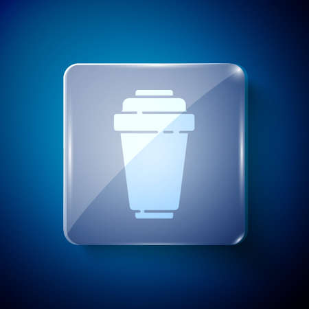 White Water filter cartridge icon isolated on blue background. Square glass panels. Vector Illustration