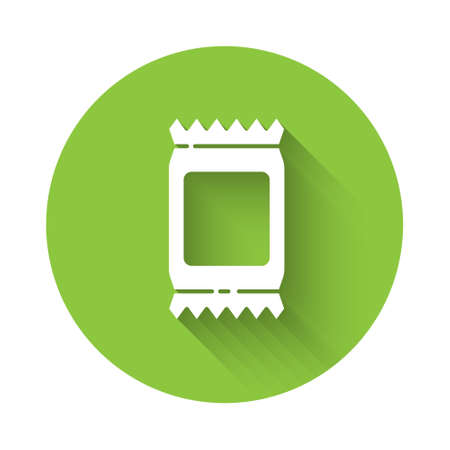 White Fertilizer bag icon isolated with long shadow. Green circle button. Vector Illustration Vector Illustration