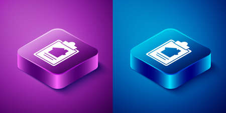 Isometric House contract icon isolated on blue and purple background. Contract creation service, document formation, application form composition. Square button. Vector Illustration