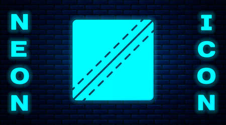 Glowing neon Sewing Pattern icon isolated on brick wall background. Markings for sewing. Vector Illustration
