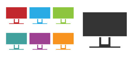 Black Smart Tv icon isolated on white background. Television sign. Set icons colorful. Vector Illustration