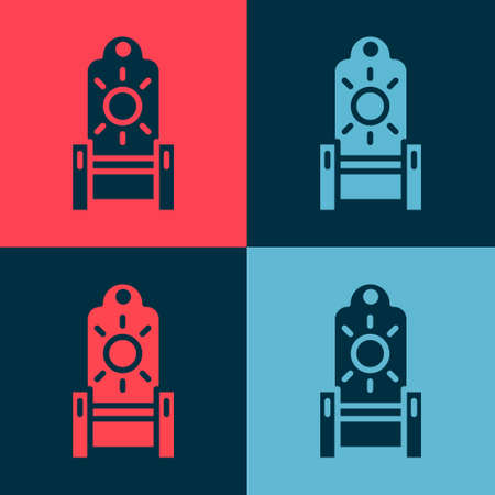 Pop art Medieval throne icon isolated on color background. Vector Stock Illustratie