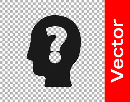 Black Human head with question mark icon isolated on transparent background. Vector