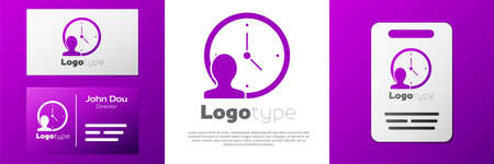 Logotype Time Management icon isolated on white background. Clock and gear sign. Productivity symbol. Logo design template element. Vector