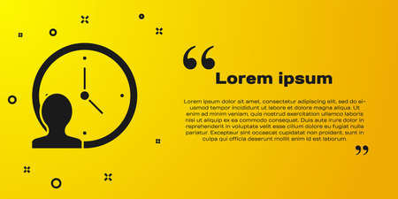 Black Time Management icon isolated on yellow background. Clock and gear sign. Productivity symbol. Vector Çizim