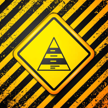 Black Business pyramid chart infographics icon isolated on yellow background. Pyramidal stages graph elements. Warning sign. Vector Illusztráció