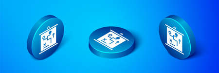 Isometric Planning strategy concept icon isolated on blue background. Cup formation and tactic. Blue circle button. Vector Çizim